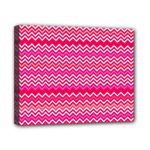 Valentine Pink And Red Wavy Chevron Zigzag Pattern Canvas 10  X 8  by PaperandFrill