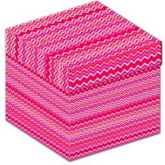 Valentine Pink And Red Wavy Chevron Zigzag Pattern Storage Stool 12   by PaperandFrill