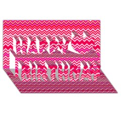 Valentine Pink And Red Wavy Chevron Zigzag Pattern Happy Birthday 3d Greeting Card (8x4)  by PaperandFrill