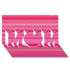 Valentine Pink And Red Wavy Chevron Zigzag Pattern Mom 3d Greeting Card (8x4)  by PaperandFrill