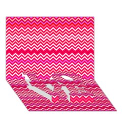 Valentine Pink And Red Wavy Chevron Zigzag Pattern Love Bottom 3d Greeting Card (7x5)  by PaperandFrill