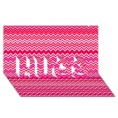 Valentine Pink And Red Wavy Chevron Zigzag Pattern Hugs 3d Greeting Card (8x4)  by PaperandFrill