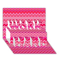 Valentine Pink And Red Wavy Chevron Zigzag Pattern Work Hard 3d Greeting Card (7x5)  by PaperandFrill