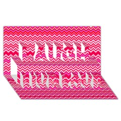Valentine Pink And Red Wavy Chevron Zigzag Pattern Laugh Live Love 3d Greeting Card (8x4)  by PaperandFrill