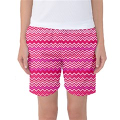 Valentine Pink And Red Wavy Chevron Zigzag Pattern Women s Basketball Shorts by PaperandFrill