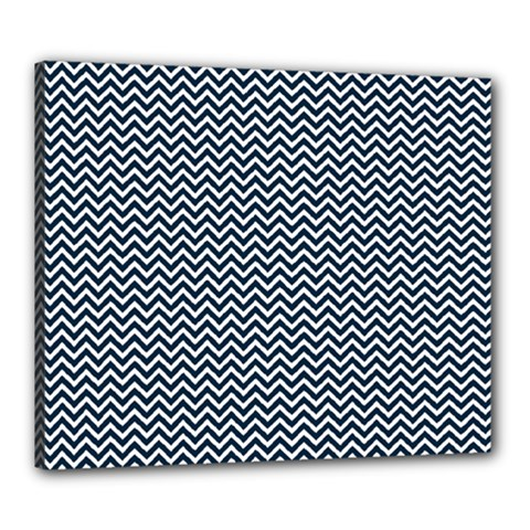Blue And White Chevron Wavy Zigzag Stripes Canvas 24  X 20  by PaperandFrill