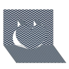Blue And White Chevron Wavy Zigzag Stripes Heart 3d Greeting Card (7x5)  by PaperandFrill