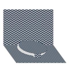Blue And White Chevron Wavy Zigzag Stripes Circle Bottom 3d Greeting Card (7x5)  by PaperandFrill