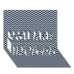 Blue And White Chevron Wavy Zigzag Stripes You Are Invited 3d Greeting Card (7x5)  by PaperandFrill