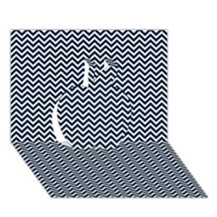 Blue And White Chevron Wavy Zigzag Stripes Apple 3d Greeting Card (7x5)  by PaperandFrill