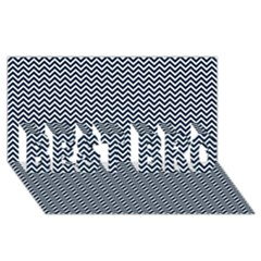 Blue And White Chevron Wavy Zigzag Stripes Best Bro 3d Greeting Card (8x4)  by PaperandFrill