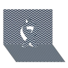 Blue And White Chevron Wavy Zigzag Stripes Ribbon 3d Greeting Card (7x5)  by PaperandFrill