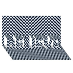 Blue And White Chevron Wavy Zigzag Stripes Believe 3d Greeting Card (8x4)  by PaperandFrill