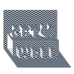 Blue And White Chevron Wavy Zigzag Stripes Get Well 3d Greeting Card (7x5)  by PaperandFrill