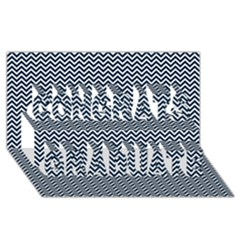 Blue And White Chevron Wavy Zigzag Stripes Congrats Graduate 3d Greeting Card (8x4)  by PaperandFrill