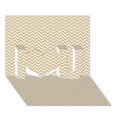 Gold And White Chevron Wavy Zigzag Stripes I Love You 3d Greeting Card (7x5)  by PaperandFrill