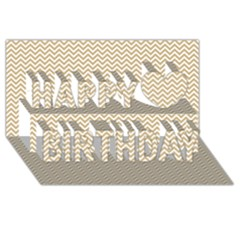 Gold And White Chevron Wavy Zigzag Stripes Happy Birthday 3d Greeting Card (8x4)  by PaperandFrill