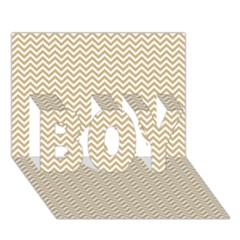 Gold And White Chevron Wavy Zigzag Stripes Boy 3d Greeting Card (7x5) by PaperandFrill