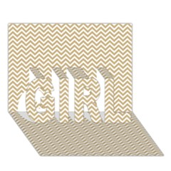 Gold And White Chevron Wavy Zigzag Stripes Girl 3d Greeting Card (7x5)  by PaperandFrill