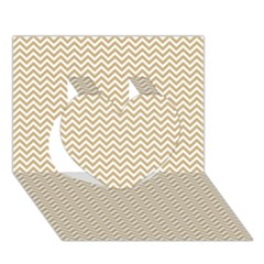 Gold And White Chevron Wavy Zigzag Stripes Heart 3d Greeting Card (7x5)  by PaperandFrill