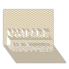 Gold And White Chevron Wavy Zigzag Stripes You Are Invited 3d Greeting Card (7x5)  by PaperandFrill