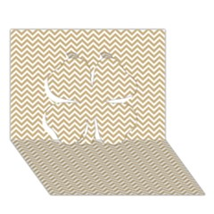 Gold And White Chevron Wavy Zigzag Stripes Clover 3d Greeting Card (7x5)  by PaperandFrill