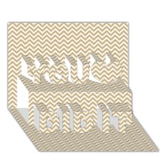 Gold And White Chevron Wavy Zigzag Stripes You Did It 3d Greeting Card (7x5) by PaperandFrill