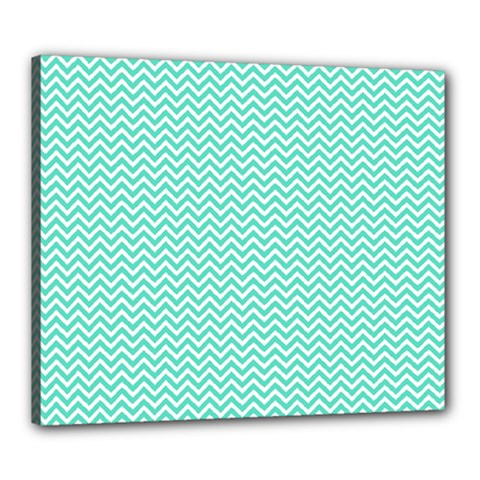 Tiffany Aqua And White Chevron Wavy Zigzag Stripes Canvas 24  X 20  by PaperandFrill