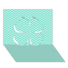 Tiffany Aqua And White Chevron Wavy Zigzag Stripes Clover 3d Greeting Card (7x5)  by PaperandFrill
