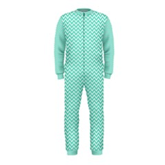 Tiffany Aqua and White Chevron Wavy ZigZag Stripes OnePiece Jumpsuit (Kids) by PaperandFrill