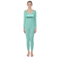 Tiffany Aqua and White Chevron Wavy ZigZag Stripes Long Sleeve Catsuit by PaperandFrill