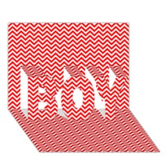 Red And White Chevron Wavy Zigzag Stripes Boy 3d Greeting Card (7x5) by PaperandFrill