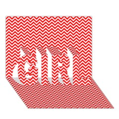 Red And White Chevron Wavy Zigzag Stripes Girl 3d Greeting Card (7x5)