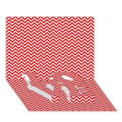 Red And White Chevron Wavy ZigZag Stripes LOVE Bottom 3D Greeting Card (7x5)  by PaperandFrill