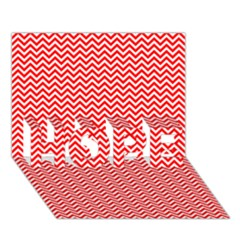 Red And White Chevron Wavy Zigzag Stripes Hope 3d Greeting Card (7x5)  by PaperandFrill