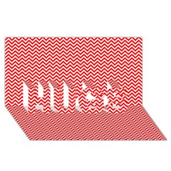 Red And White Chevron Wavy Zigzag Stripes Hugs 3d Greeting Card (8x4)  by PaperandFrill