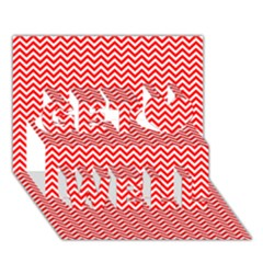Red And White Chevron Wavy Zigzag Stripes Get Well 3d Greeting Card (7x5)  by PaperandFrill