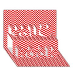Red And White Chevron Wavy Zigzag Stripes You Rock 3d Greeting Card (7x5)  by PaperandFrill