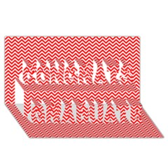 Red And White Chevron Wavy Zigzag Stripes Congrats Graduate 3d Greeting Card (8x4)  by PaperandFrill