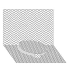 Silver And White Chevrons Wavy Zigzag Stripes Circle Bottom 3d Greeting Card (7x5)  by PaperandFrill