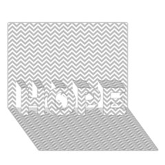 Silver And White Chevrons Wavy Zigzag Stripes Hope 3d Greeting Card (7x5)  by PaperandFrill