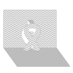 Silver And White Chevrons Wavy Zigzag Stripes Ribbon 3d Greeting Card (7x5)  by PaperandFrill