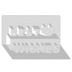 Silver And White Chevrons Wavy Zigzag Stripes Best Wish 3d Greeting Card (8x4)  by PaperandFrill