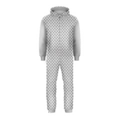 Silver And White Chevrons Wavy Zigzag Stripes Hooded Jumpsuit (kids)