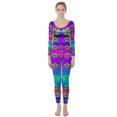 Peace And Groovy Long Sleeve Catsuit by pepitasart