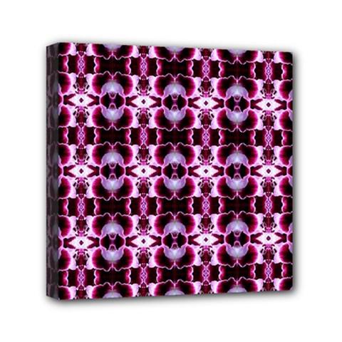 Purple White Flower Abstract Pattern Mini Canvas 6  X 6