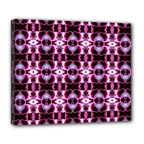 Purple White Flower Abstract Pattern Deluxe Canvas 24  X 20   by Costasonlineshop