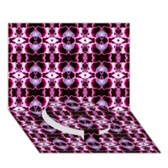 Purple White Flower Abstract Pattern Circle Bottom 3d Greeting Card (7x5)  by Costasonlineshop