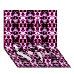 Purple White Flower Abstract Pattern Love Bottom 3d Greeting Card (7x5)  by Costasonlineshop
