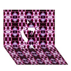 Purple White Flower Abstract Pattern Ribbon 3d Greeting Card (7x5)  by Costasonlineshop